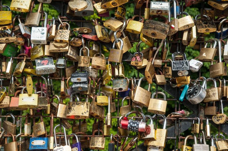 Full frame shot of padlocks hanging on metal