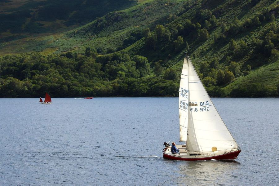 Lake District Lake District National Park Ullswater Beauty In Nature Day Men Mountain Nature Nautical Vessel Outdoors People Real People Sailing Scenics Sea Sky Transportation Tree Ullswater, Lake District, Water Waterfront