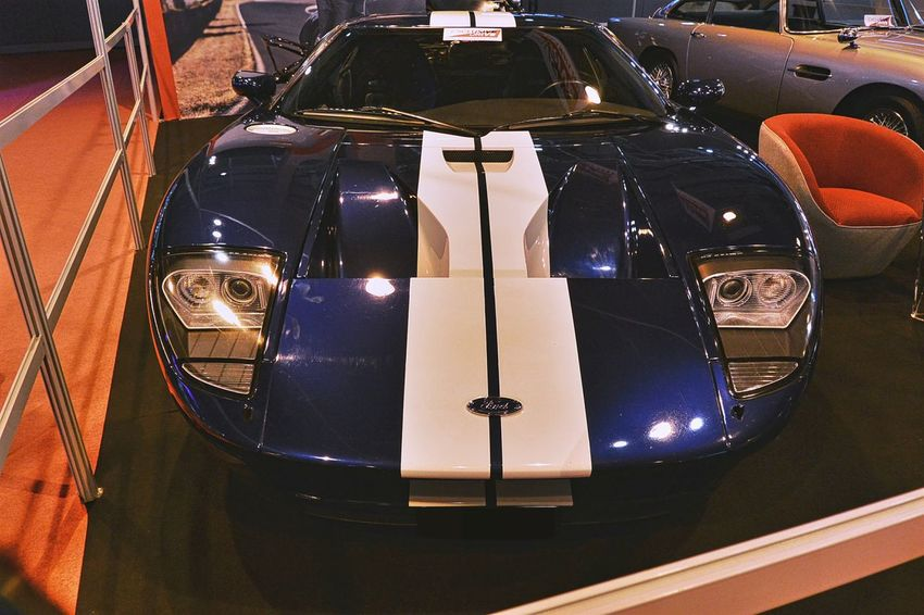 American Cars Blue Collector's Car Ford Ford GT Indoors  Paris International Motor Show 2016 White Stripes