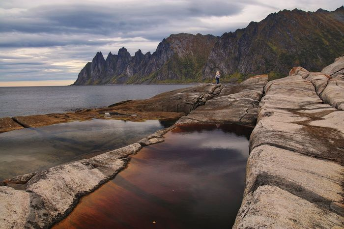 View on Okshornan, Senja Island Senja  Rock - Object Nature Scenics Beauty In Nature Mountain Landscape Cliff Tranquility Outdoors Cloud - Sky Sea Tidal Pool Norway Tranquil Scene Norway🇳🇴 Shoreline Cliffs