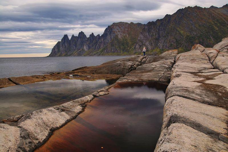 View on Okshornan, Senja Island Senja  Rock - Object Nature Scenics Beauty In Nature Mountain Landscape Cliff Tranquility Outdoors Cloud - Sky Sea Tidal Pool Norway Tranquil Scene Norway🇳🇴 Shoreline Cliffs