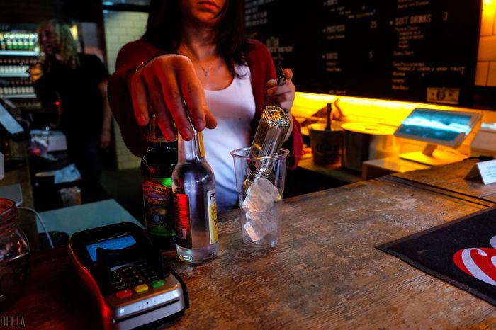 Alcohol Atthebeach Bar Counter Bartender Bottle Citylife CityLifeStyle Cold Communication Drink Drinking Femalebartender Freshness One Person Onice People Saturday Saturdaynight Shoreditch SouthLondon Technology Waitress Waitresses Wireless Technology