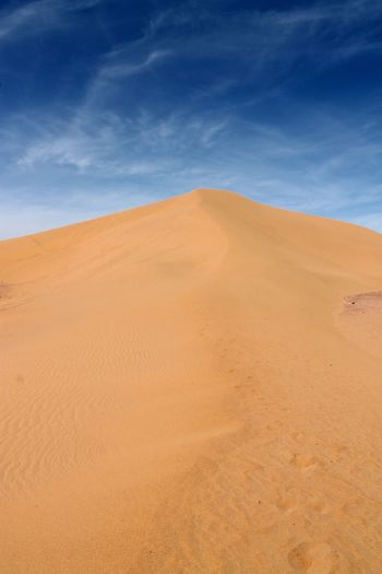 Low Angle View Of Desert Against Blue Sky