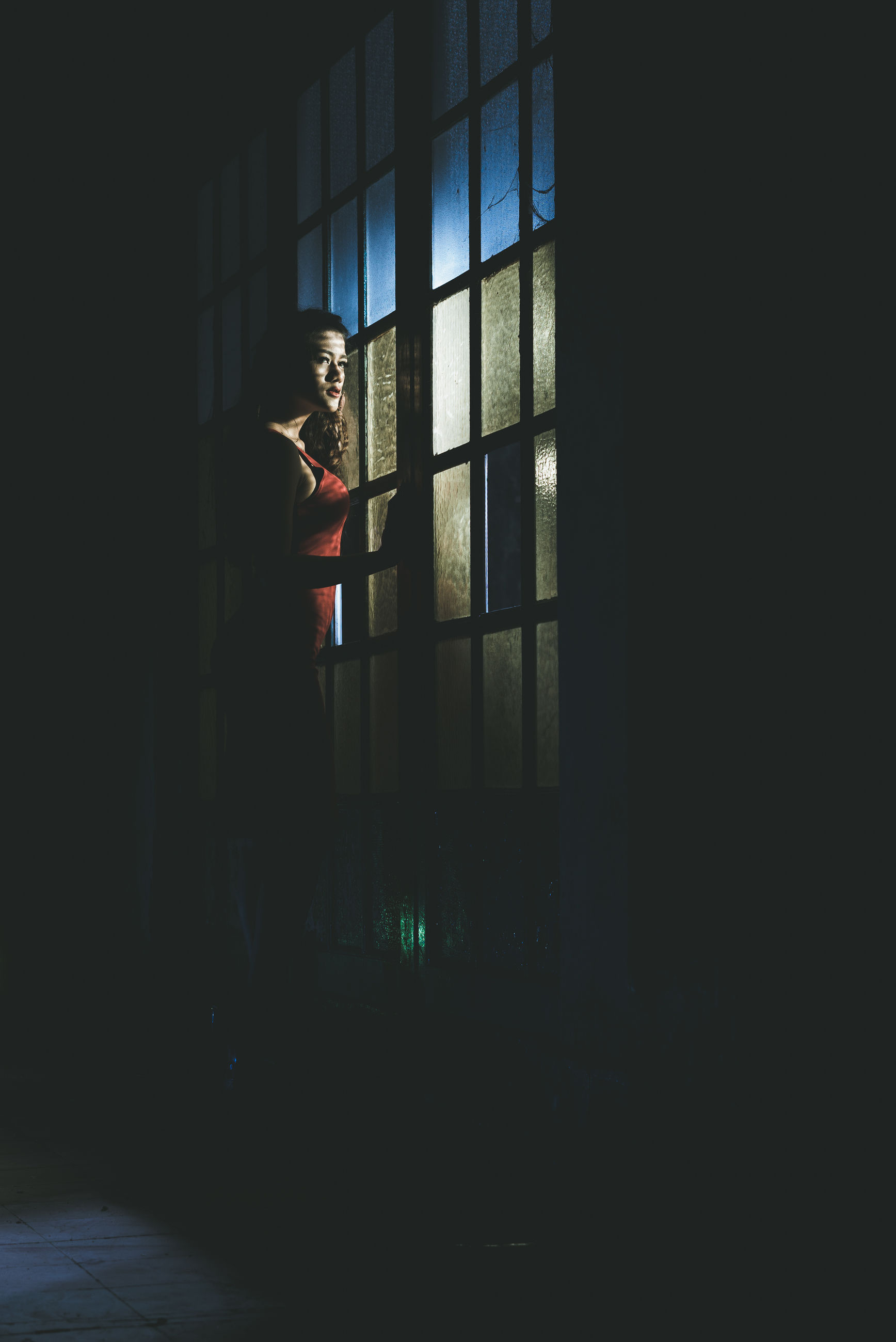 one person, window, indoors, standing, full length, real people, side view, women, lifestyles, one woman only, day, young adult, adult, adults only, people