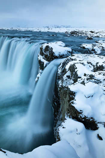 Goðafoss Iceland Long Exposure Shot Travel Wanderlust Winter Beauty In Nature Canon Canonphotography Earthporn Godafoss Landscape Long Exposure Manfrotto Motion Nature Outdoors Snow Travel Destinations Tripod Water Waterfall Be. Ready.