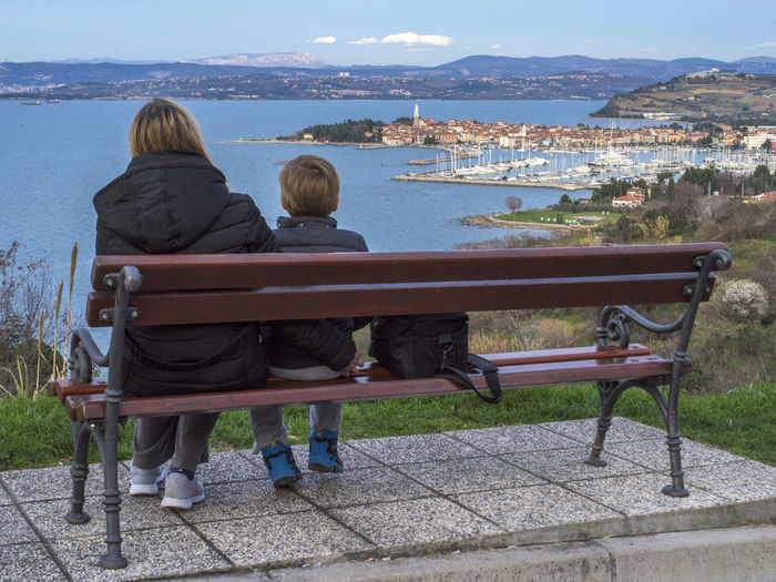 Panoramic view on the town of Izola, Slovenija City Coast City Coastline Family FamilyTime Holiday Kid Mother Outdoors Panorama Panorama Foto Panorama View Panoramashot People Sea And Sky Seaside Sitting Two People Vacation Destination Vacation Time Vacations Woman