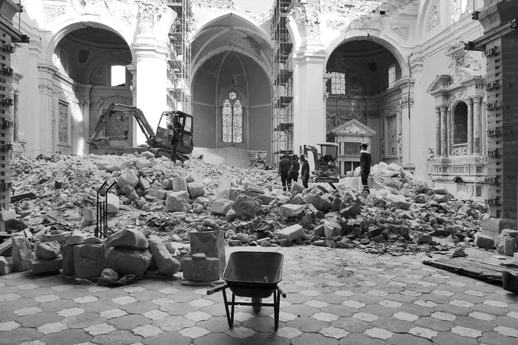 L'Aquila: inside the church of Santa Maria di Collemaggio collapsed with the earthquake Abruzzo L'Aquila Rubble Wall Wheel Arch Architecture Black And White Blackandwhite Built Structure Collapsed Digg Earthquake Earthquake In Italy Earthquake L'aquila Firefighters Firefighters In Action Indoors  Italy Place Of Worship Real People Religion Rubble Spirituality