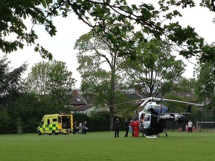 Hoping the patient being transferred from air ambulance helicopter to ambulance on Ruskin Park on route to Kings College Hospital this afternoon is on the mend this evening!!! Helicopter Emergency Eye4photography  Air Ambulance