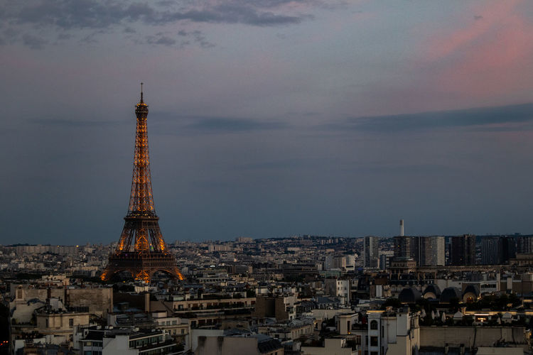 Eiffel Tower Architecture Building Building Exterior Built Structure City City Life Cityscape Cloud - Sky History Nature No People Office Building Exterior Outdoors Sky Skyscraper Spire  Sunset Tall - High The Past Tourism Tower Travel Travel Destinations