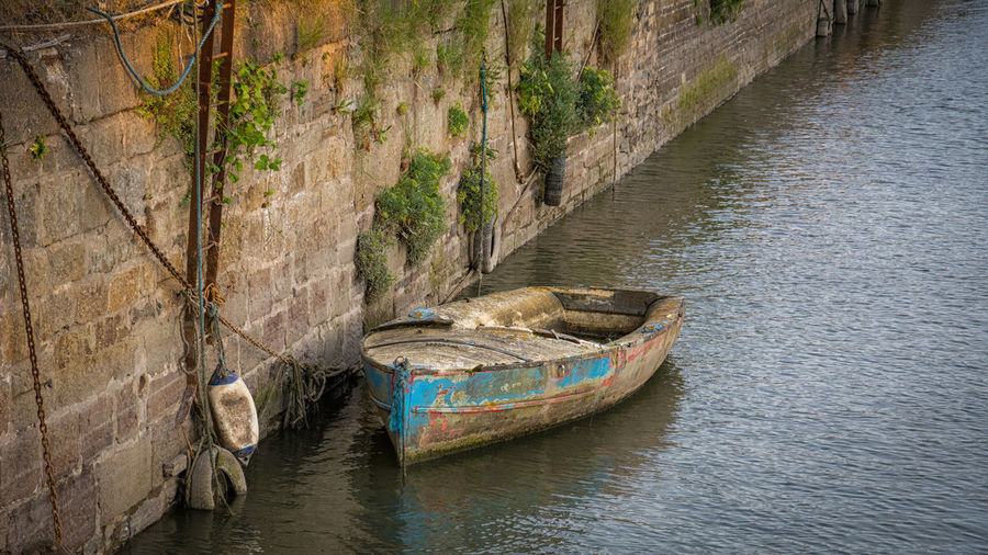 Boat moored at canal
