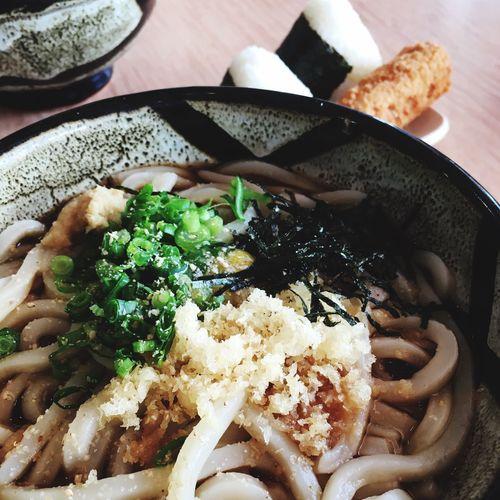 ぶっかけうどんとおにぎりとチキンチーズ Udon Noodles Lunch Foodporn