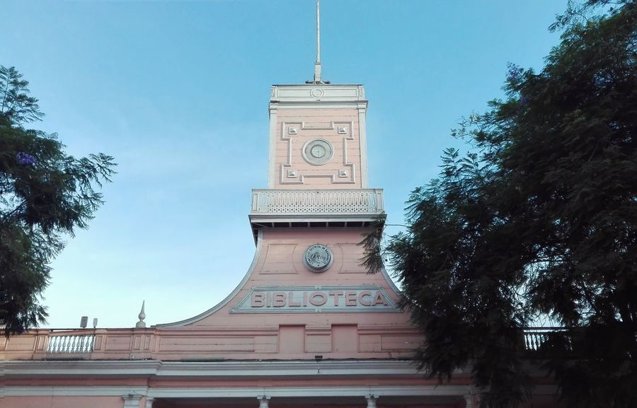 First Eyeem Photo Showcase March Barranco Architecture Beauty Colorful Old Pink Clouds Sky Building Library Pastel Biblioteca Summer Centered Middle Front View Front