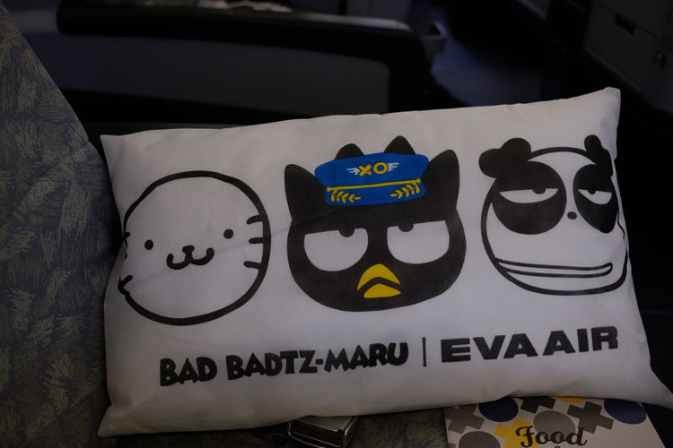 Bad Badtz-Maru Eva FUJIFILM X-T2 Pillow Plane Taiwan Travel Airplane Eva Air Eva Airline Fujifilm Fujifilm_xseries In Flight Indoors  No People Text X-t2 台湾 機内 臺灣