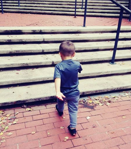 Determination Childhood Full Length Males  Standing Boys Baby Protruding Stairs Steps Children Steps And Staircases Staircase Stairway Preschooler Baby Clothing