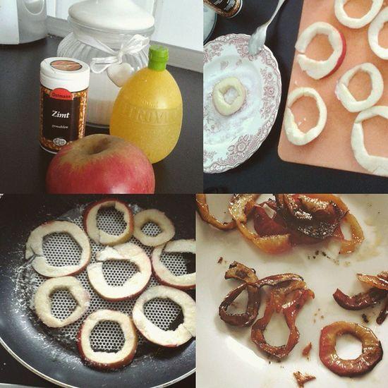 Mein Versuch Apfelringe zu machen hat nicht ganz so gut geklappt wie erhofft, zwar sind sie nicht ästhetisch, Schmecken allerdings sehr Gut :D Trotzdem einmal das Rezept : Den Apfel in Scheiben schneiden, dann die Mitte und optional den Rand entfernen, in Zimt Zucker und Zitronat tauchen, dann in die Pfanne mit Öl legen und goldbraun braten und fertig sind sie :) DIY Liosnapshot Lecker Selbstgemacht Selfmade Yummi Sugar Apple