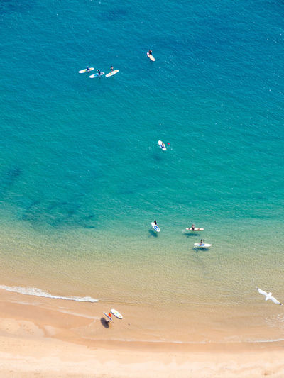 Aerial View Beach Beauty In Nature Blue Boards Day Gibraltar High Angle View Nature Nautical Nautical Vessel Outdoors Paddle Paddleboarding Real People Sand Scenics Sea Turquoise Vacations Water