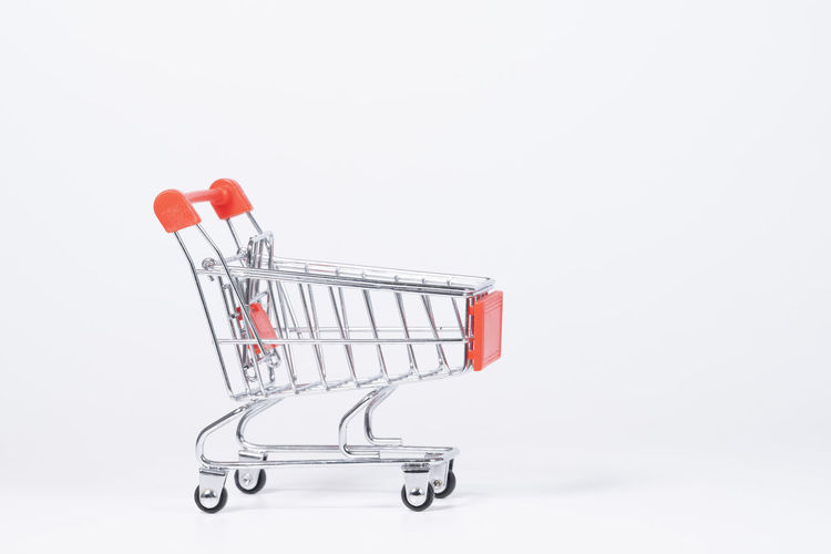 red cart on white background Red Cart