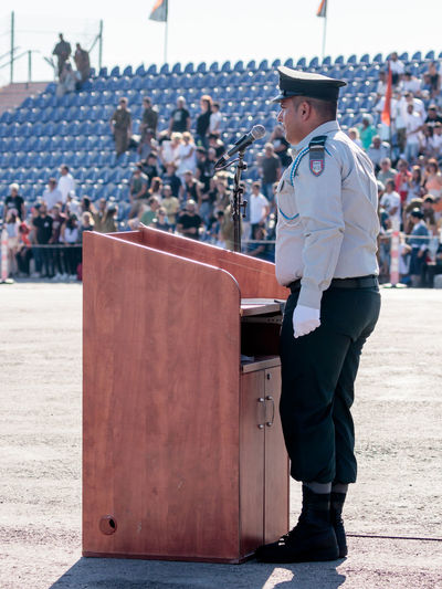 Nahariya, Israel, June 29, 2017 : Ensign of the IDF stands near the podium at the evening formation in Nahariya, Israel Army Battle Ceremony Day Defense Education Force Idf Israel Defense Forces Israeli Jewish Military Outdoors Parade Patriotism People Professional Protection Service Soldier Training Uniform War Warrior Weapon