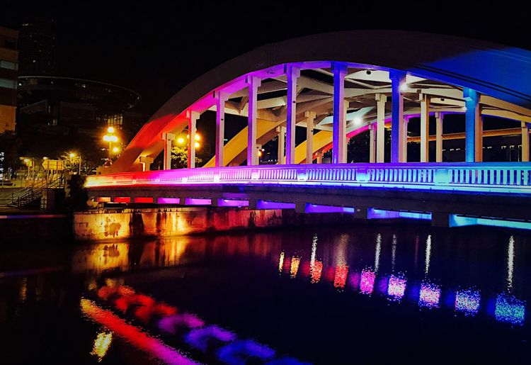 Singapore Night Illuminated Built Structure Architecture Water Bridge Building Exterior Bridge - Man Made Structure Connection Reflection Transportation City River No People Nature Waterfront Sky Outdoors Lighting Equipment Arch Bridge