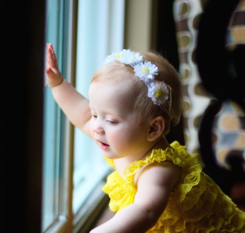 The curious mind of a baby is powerful! One Person Child Childhood Cute Blond Hair Girls One Girl Only Headshot Children Only Indoors  Human Body Part Day Light Light And Shadow Portrait Beautiful Girl Beauty Close-up Flowerband Small Hands