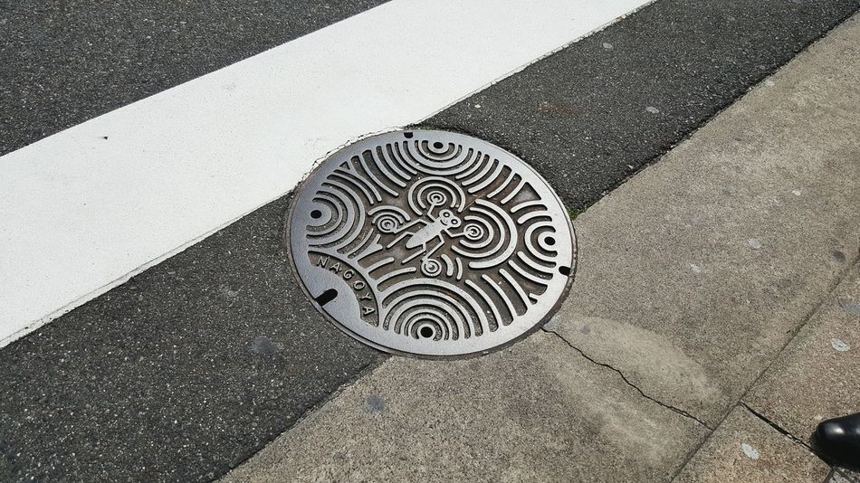 Nagoya High Angle View No People Outdoors Day Drain Cover Street