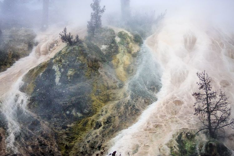 Filled with immense beauty, boiling mineral springs & surreal mist Yellowstone presents visions of delight as well as views of Dante's Inferno. Danger Zone Extreme Terrain Rocks Trees And Water Mistscape Steam Mineral Deposits Thermal Waters Mineral Springs Beauty In Nature
