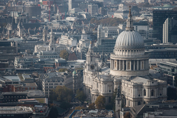 Aerial view of st paul s cathedral in london