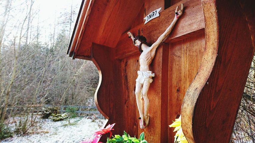 Jesus Jesus Christ INRI Cross Crucifix Snow Chapel In The Woods Flowers Flower