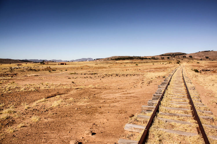 Adventure Blue Sky Clear Sky Day Desert Desolate Direction Holiday Journey Landscape Nature No People Outdoors Railway