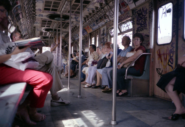 1985 Graffiti Mass Transit New York Subway R Train Commuter Group Of People Public Transportation Real People Sitting Transportation Travel