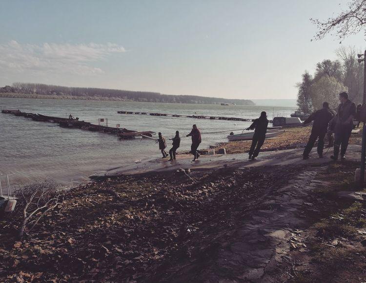 Izvlacenje camaca iz Dunava Dunav Danube Jesen Nature Sky Boats⛵️ Boat Ponton Radnaakcija