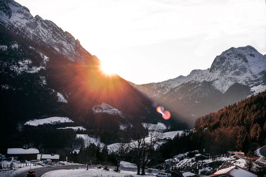 Salzburg Sunsets Moody Mikes Photography Canon5dmk2 EyeEm Selects EyeEmNewHere Snow Cold Temperature Winter Mountain Nature Beauty In Nature Lens Flare Mountain Range Sunlight Snowcapped Mountain Sunset EyeEmNewHere