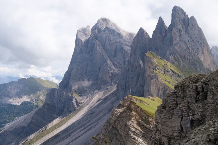 Geislerspitzen Dramatic Landscape Mountain Peak Grass Beauty In Nature EyeEm Nature Lover Südtirol Dolomites Alpine Landscape Alpen Alps Majestic Dramatic Sky Mountain Mountain Peak Sky Mountain Range Cloud - Sky Rock Formation Steep