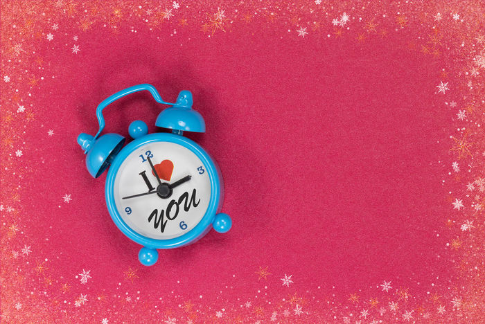 Alarm Clock Blue Clock Clock Clock Face Close-up High Angle View I Love You Indoors  Minute Hand No People Red Time