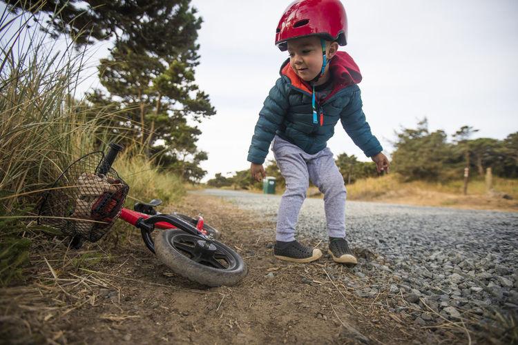 Boy riding motorcycle
