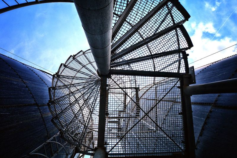 Lostplace Abandoned Stairs Steel Lookingup Light And Shadow Girder Steel Blue Sky Built Structure Cloud - Sky