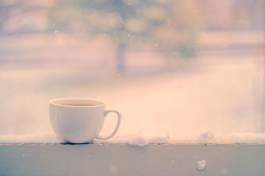 Soft take Cup Coffee Cup Coffee - Drink Tea Cup Tea - Hot Drink Drink Table No People Indoors  Close-up Day Mug Cozy Cold Tradition Burning Snowing Snowflakes Outside Photography Winter