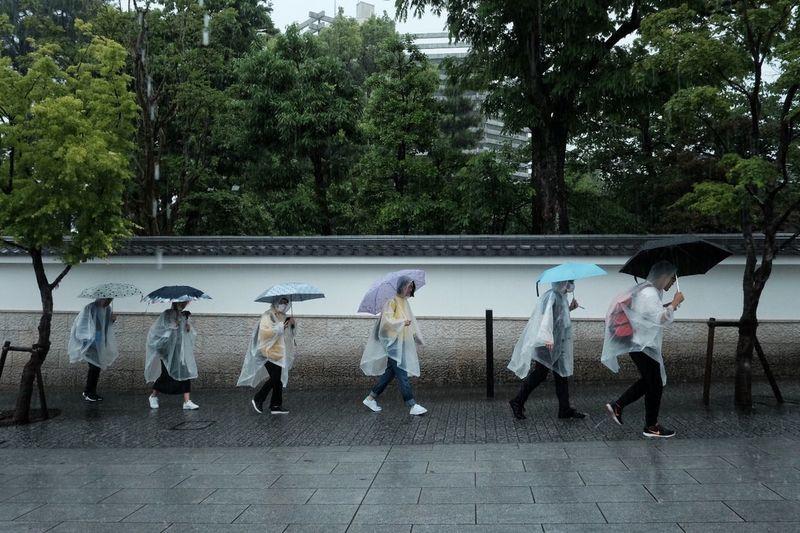 Rainy day in Kyoto Filipino Street Photographers Everyday Everywhere Rain Rainy Days Umbrella Tree Full Length Standing Boys Men Sky Raincoat