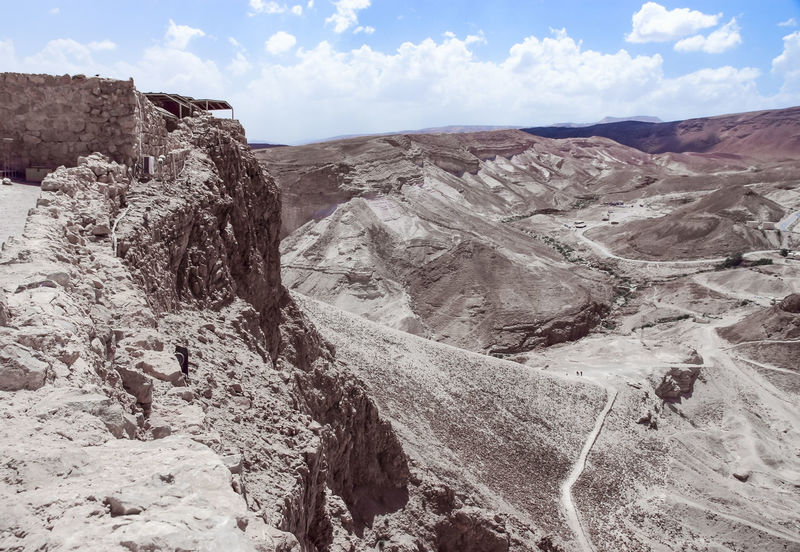 View from the walls of the fortress of Masada to the Judean desert in Israel Ancient Antique Archaeology Architecture Castle Landmarks Massada National Park Ruins Travel Wall Cultures Day Dead Sea  Famous Place Fort Heritage History Israel Judean Desert Mountains Nature Old Stone Tourism