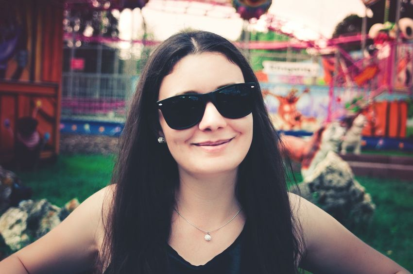 SUMMER VIBES| Sunglasses Smiling Portrait Beautiful Woman Headshot Happiness Amusement Park Outdoors People EyeEm Gallery EyeEm Best Shots Beautiful People EyeEm Best Edits EyeEmBestPics Life Beauty Fun Summer EyeEm The Week On EyeEm Breathing Space Investing In Quality Of Life Lifestyles Freshness Contrast