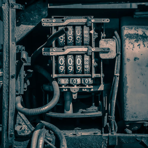 Metal No People Close-up Machinery Old Technology Transportation Day Abandoned Connection Machine Part Control Mode Of Transportation Outdoors Communication Land Vehicle Focus On Foreground Industry Obsolete Numbers Engine Engines Future