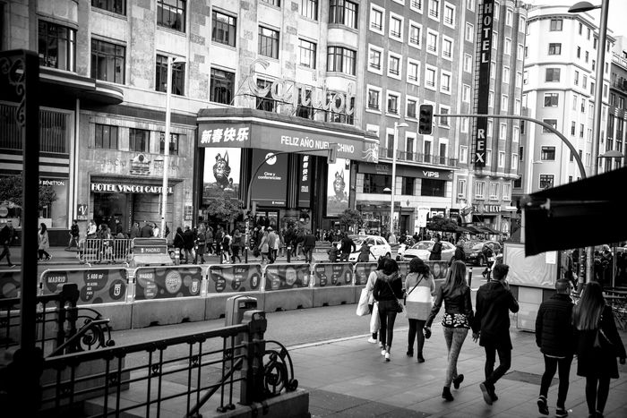 Granviamadrid City Madrid Spain Bnw Blackandwhite Cityscape City Street People Road Adult Walking