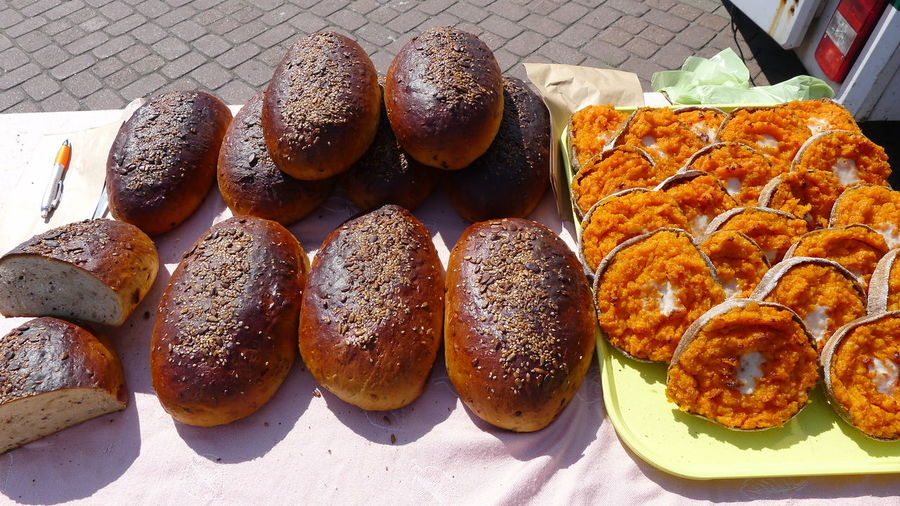 Baked Bakery Bread Brown Bread Bun CarotCake Close-up Day Food Food And Drink Freshness Indoors  Latvia Market No People Outdoor Market Poppy Seed Ready-to-eat Sesame Seed Variation