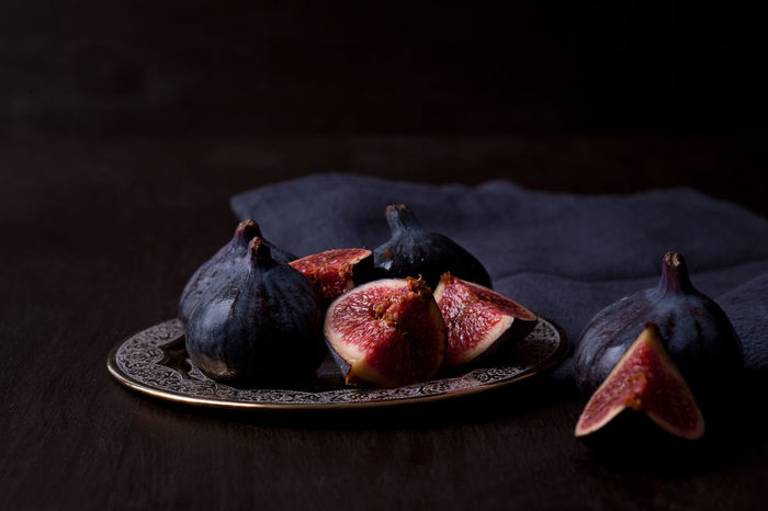 Black Background Close-up Day Fig Food Food And Drink Freshness Fruit Healthy Eating Indoors  No People Plate Studio Shot