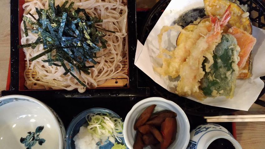 Food And Drink Ready-to-eat Food Indoors  Freshness Plate Table Temptation Serving Size Homemade Healthy Lifestyle Healthy Eating Directly Above Dumpling  Appetizer No People Close-up Stuffed Day Japanese Food Soba Noodles Tempura Tempurashrimp