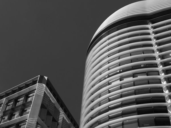Angles and Curves Bloomberg Building Architecture Building Building Exterior Built Structure City Clear Sky Copy Space Glass - Material Low Angle View Modern Nature No People Office Office Building Exterior Outdoors Pattern Sky Skyscraper Walbrook Building The Architect - 2018 EyeEm Awards