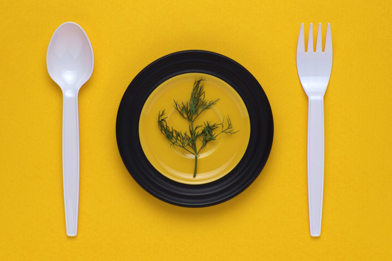 Directly Above Shot Of Leaf Vegetable In Plate Amidst Spoon And Fork Against Yellow Background