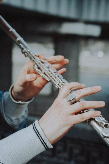 Close-up of hands of musician