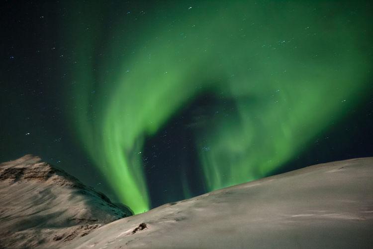 View of aurora borealis at night