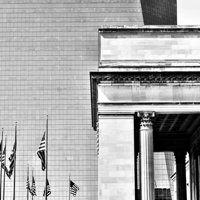 Philadelphia Taking Photos Hello World Black & White Black And White Modern Architecture 366dailies JAStudios Train Station Office Building Philadelphia Architecture Lines American Flag Building Exterior My Town Blackandwhite Blackandwhite Photography Realphotography